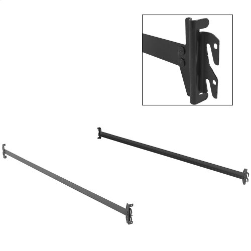 82-Inch 84H Black Bed Frame Side Rails with Hook-On Brackets for Headboards and Footboards, Queen