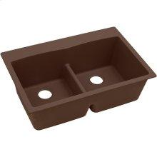 """Elkay Quartz Classic 33"""" x 22"""" x 10"""", Equal Double Bowl Drop-in Sink with Aqua Divide, Mocha"""