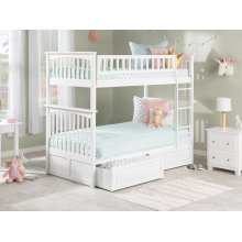 Columbia Bunk Bed Twin over Twin with Raised Panel Bed Drawers in White