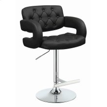 Contemporary Black Faux Leather Adjustable Bar Stool