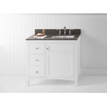 "Hampton 36"" Bathroom Vanity Cabinet Base in White - Door on Right"