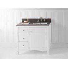 "Hampton 36"" Bathroom Vanity Cabinet Base in White - Door on Right"