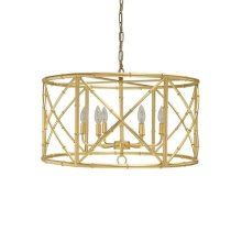 Six Light Bamboo Chandelier In Gold Leaf - Ul Approved for (6) 40w Candelabra Bulbs