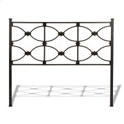 CLEARANCE ITEM--Marlo Metal Headboard Panel with Squared Finial Posts, Burnished Black Finish, Queen Product Image