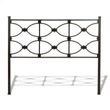Marlo Metal Headboard Panel with Squared Finial Posts, Burnished Black Finish, Queen