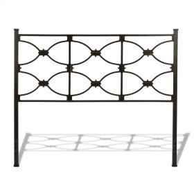 CLEARANCE ITEM--Marlo Metal Headboard Panel with Squared Finial Posts, Burnished Black Finish, Queen