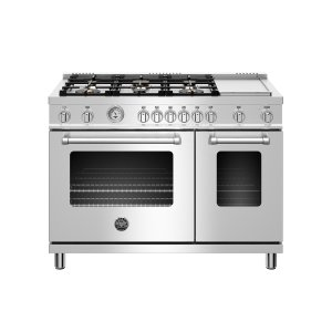 Bertazzoni48 inch All Gas Range, 6 Brass Burner and Griddle Stainless Steel