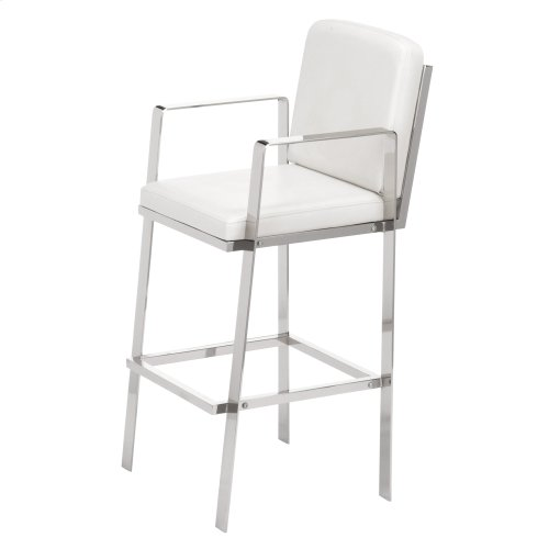 Juneau Bar Stool with Nickel Finished Metal Frame, Footrest and White Faux Leather Upholstery, 30-Inch Seat Height