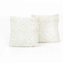 "20x20"" Size Cream Braided Pillow, Set of 2"