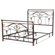 Lucinda Complete Bed with Intricate Metal Scrollwork and Sleighed Top Rail Panels, Marbled Russet Finish, Queen