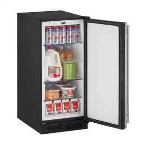 """U-Line1000 Series 15"""" Solid Door Refrigerator With Stainless Solid Finish and Field Reversible Door Swing (115 Volts / 60 Hz)"""