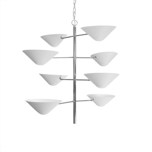 Four Tier Uplight In Nickel With Matte White Shade
