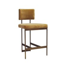 Modern Counter Stool In Bronze Base With Camel Velvet