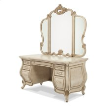Vanity/desk With Glass Top & Mirror