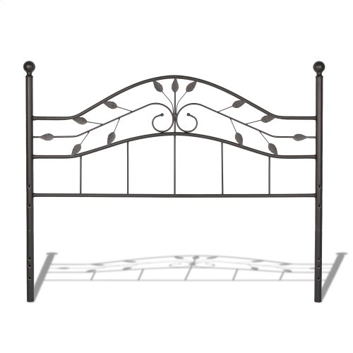 Sycamore Complete Bed with Arched Metal Duo Panels and Leaf Pattern Design, Hammered Copper Finish, Queen