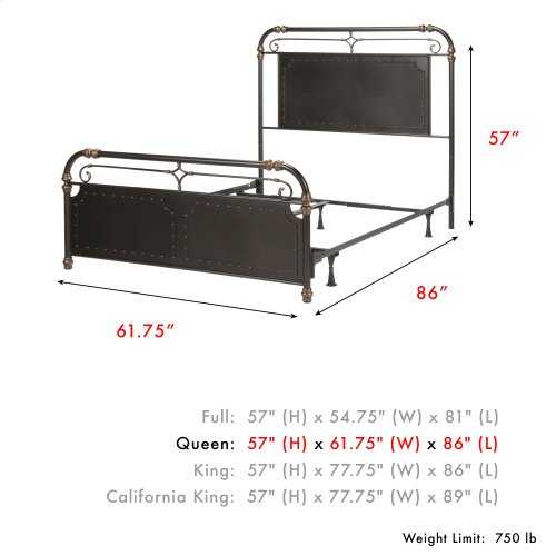 Westchester Complete Metal Bed and Steel Support Frame with Vintage-Inspired Design and Nailhead Detail, Blackened Copper Finish, Queen