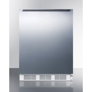 SummitBuilt-in Undercounter Refrigerator-freezer for Residential Use, Cycle Defrost With A Stainless Steel Wrapped Door, Horizontal Handle, and White Cabinet