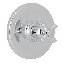 Polished Chrome Palladian Thermostatic Trim Plate Without Volume Control with Cross Handle