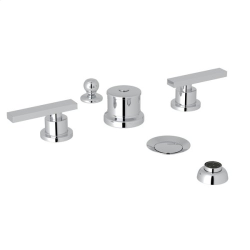 Polished Chrome Pirellone 5-Hole Bidet Faucet with Metal Lever