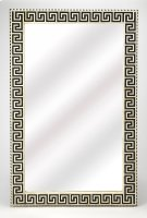 This magnificent wall mirror features a sophisticated artistry and consummate craftsmanship. The Greek key pattern covering the frame is created from bone inlay cut and individually applied by the hands of a skillful artisan. No two mirrors are alike, ens Product Image