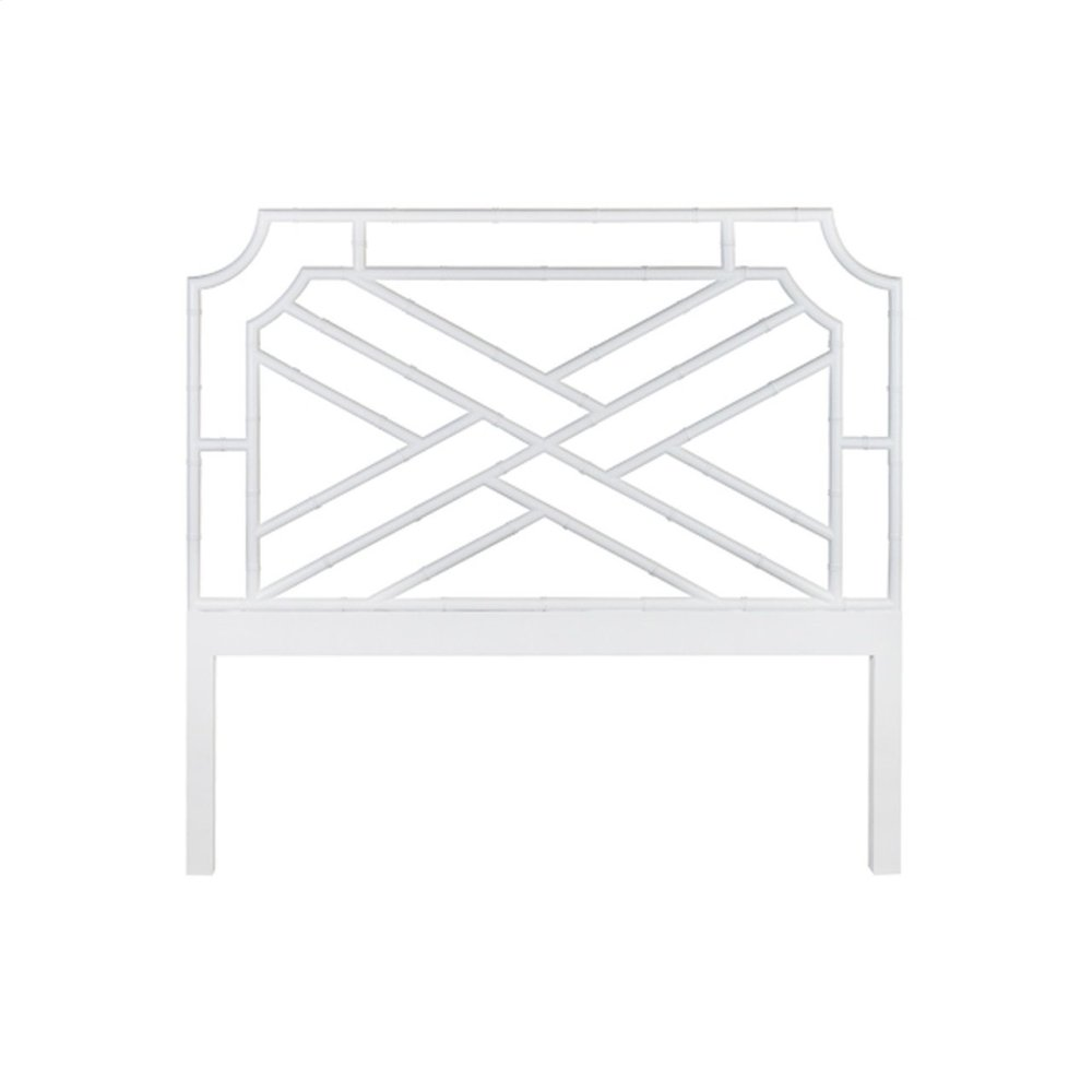 Chippendale Style Queen Bamboo Headboard In Matte White Lacquer