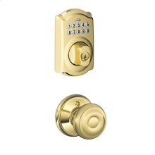 Camelot Trim Keypad Deadbolt paired with Georgian Knob Hall & Closet Lock - Bright Brass