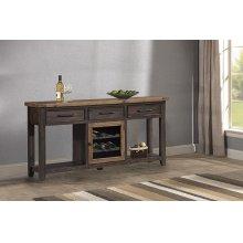 Tuscan Retreat® Sofa Table With Metal Door Wine Rack - Case Sua Two-tone / Brushed Bronze