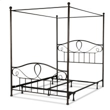 Sylvania Complete Metal Canopy Bed and Steel Support Frame with 83-Inch Final Posts, French Roast Finish, King