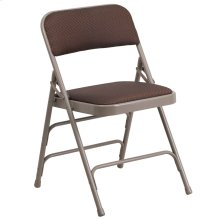 Curved Triple Braced & Double-Hinged Brown Patterned Fabric Metal Folding Chair