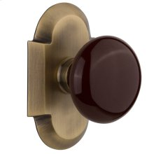 Nostalgic - Single Dummy Knob - Cottage Plate with Brown Porcelain Knob in Antique Brass