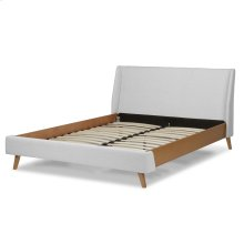 Palmer Complete Platform Bed with Upholstered Exterior and Light Oak Wooden Side Rails, Flax Finish, Queen