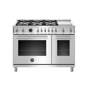 Bertazzoni48 inch Dual Fuel Range, 6 Brass Burners and Griddle , Electric Self Clean Oven Stainless
