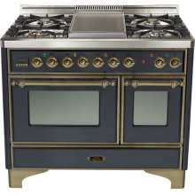"Matte Graphite 40"" Griddle Top Majestic Techno Dual Fuel Range"