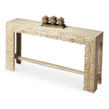 The transparent Washed finish keeps the spotlight where it should be with this piece - on the extraordinary carved front. Crafted and hand carved from exotic mango wood solids and recycled wood, this console is destined to be the brightest spot in the roo