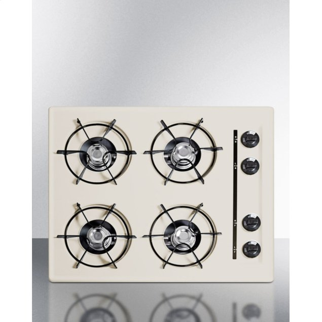 """Summit 24"""" Wide Cooktop In Bisque, With Four Burners and Battery Start Ignition; Replaces Stl03p"""