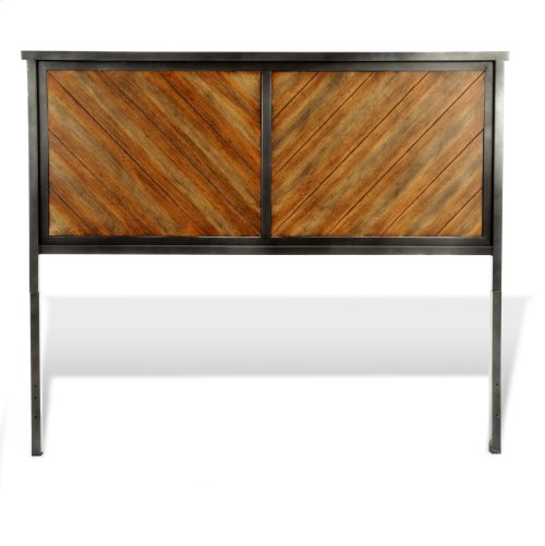 Braden Bed with Metal Panels and Reclaimed Wood Design, Rustic Tobacco Finish, Queen