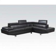 Connor Black Pu Sectional Sofa