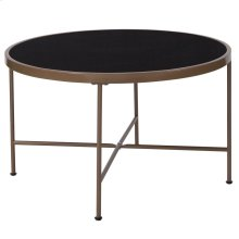 Black Glass Coffee Table with Matte Gold Frame