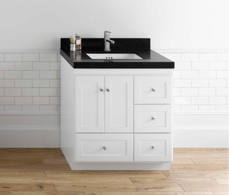 Shaker 30 Bathroom Vanity Cabinet Base In White Wood Doors On Left