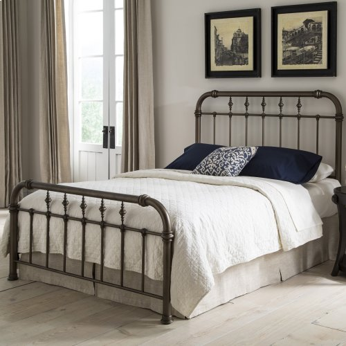 Vienna Metal Headboard and Footboard Bed Panels with Spindles and Intricately Carved Finials, Aged Gold Finish, King