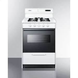 "SummitDeluxe Gas Range In Slim 24"" Width With Electronic Ignition, Digital Clock/timer, Black Glass Oven Door, and White Porcelain Top; Replaces Wtm6307dk"