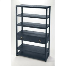 The tall bookcase is Transitional Modern with a pop of color and a glam of Gold Metallic hardware to enjoy in every room space. The colorway of the brushed wood veneers lend a beauty and elegance to the style. The functional 5 shelves offer fantastic s