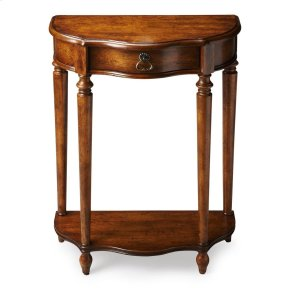 This charming console was designed for small spaces _ perfectly suited for a hall, entryway or stairway landing. Hand crafted from poplar hardwood solids and wood products, it features a elegantly distressed dark toffee finish over oak veneers. Includes o