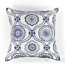 "L113 Ivory/blue Mosaic Pillow 18"" X 18"""