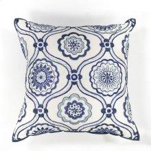 "L113 Ivory/blue Mosaic Pillow 18"" X 18"""