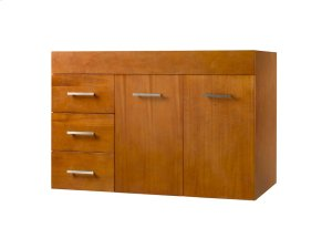 "Bella 36"" Wall Mount Bathroom Vanity Base Cabinet in Cinnamon - Doors on Right Product Image"