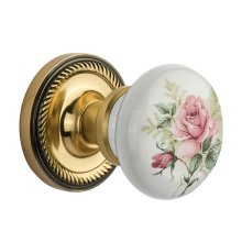 Nostalgic Warehouse - Single Dummy- Rope Rose with Rose Porcelain Knob in Antique Brass