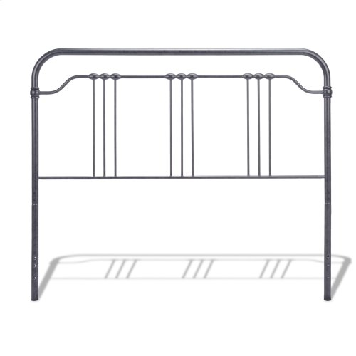 Wellesly Bed with Metal Spindled Grills and Rounded Corners, Marbled Navy Finish, Queen
