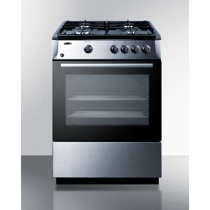 "Summit24"" Wide 'slide-in' Look Gas Range With Sealed Burners, Waist-high Broiler, Stainless Steel Finishing, Storage Compartment, and Black Cabinet and Surface"
