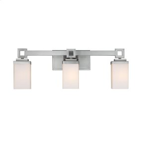 Nelio 3 Light Bath Vanity in Pewter with Cased Opal Glass